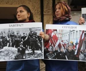 Молодёжная организация провела у столичных посольств Украины, Эстонии и Латвии митинги против героизации фашизма
