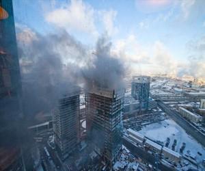 Очередной пожар в Москва-Сити