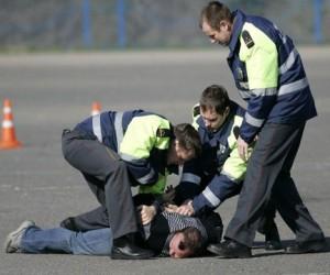 Московский водитель сломал руку полицейскому