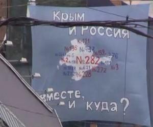 В Москве вывесили полотнище против аннексии Крыма
