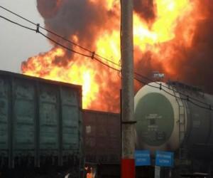 В Москве горят пять товарных вагонов