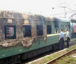 На Белорусском вокзале загорелась электричка